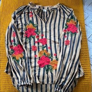 Anthropologie Striped Embroidered Blouse